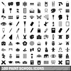 100 paint school icons set, simple style