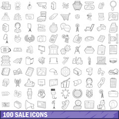 100 sale icons set, outline style