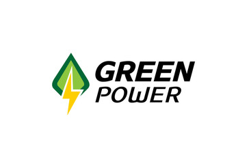 Green Power Logo Design Illustration