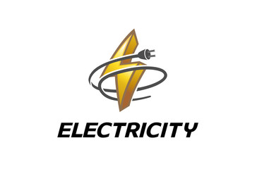 Electricity Symbol Logo Design Illustration