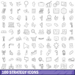 100 strategy icons set, outline style