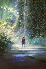 the man walking in beautiful forest with digital art style, illustration painting