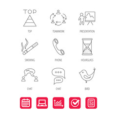 Teamwork, presentation and phone call icons. Chat speech bubble, hourglass and bird linear signs. Smoking, pyramid icons. Report document, Graph chart and Calendar signs. Laptop and Check web icons