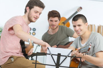 Young musicians rehearsing