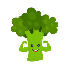 Happy smile strong broccoli show biceps muscles. Vector modern flat style cartoon character illustration icon design.Isolated on white background. Healthy food power. good nutrition,vegetarian concept