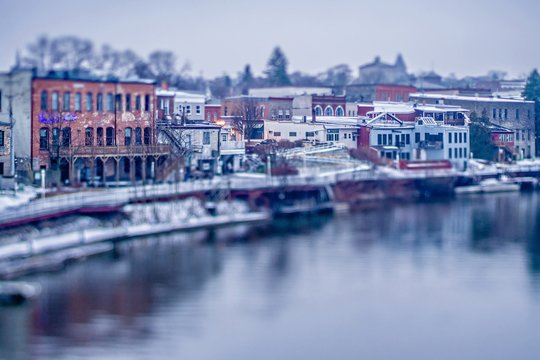 City of manistee michigan early morning in spring