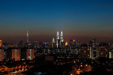 Sunset view of downtown Kuala Lumpur, Malaysia