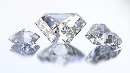 3D illustration three calf diamond stone