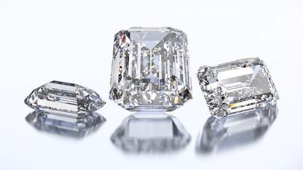 3D illustration three emerald diamond stone