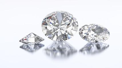 3D illustration three oval diamond stone
