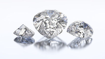3D illustration three pear diamond stone