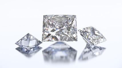 3D illustration three princes diamond stone