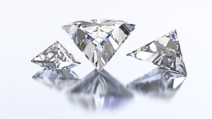3D illustration three triangle diamond stone