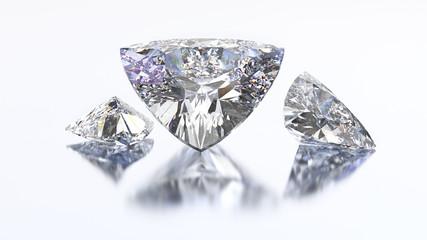 3D illustration three trillion curved diamond stone