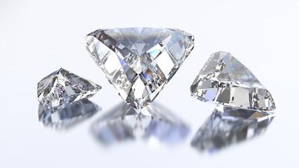3D illustration three trillion straight diamond stone