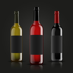 Vector, wine bottles, made in a realistic style. on a dark background. Green, Red and black mock up.