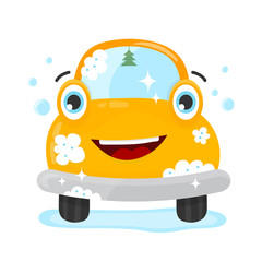 Happy cute fun clear car. Vector flat modern style illustration character icon design. Isolated on white background. Car wash services, auto cleaning concept
