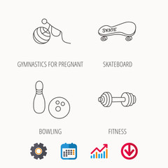 Bowling, skateboard and fitness sport icons. Gymnastics for pregnant linear sign. Calendar, Graph chart and Cogwheel signs. Download colored web icon. Vector