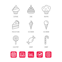Cake, candy and muffin icons. Cupcake, ice cream and lolly pop linear signs. Piece of cake icon. Report document, Graph chart and Calendar signs. Laptop and Check web icons. Vector