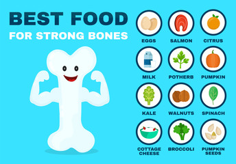 Best food for strong bones. Strong healthy bone character. Vector flat cartoon illustration icon. Isolated on blue backgound. Health food, diet, products, nutrition, nutriment infographic concept