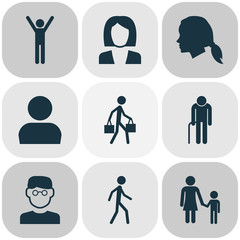 People Icons Set. Collection Of Businesswoman, Scientist, Jogging And Other Elements. Also Includes Symbols Such As Jogging, Head, Old.