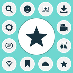 Internet Icons Set. Collection Of Smile, Flag, Camcorder And Other Elements. Also Includes Symbols Such As Clouded, Video, Overcast.