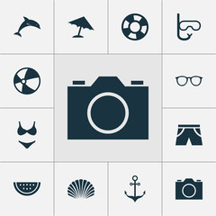 Sun Icons Set. Collection Of Spectacles, Bikini, Smelting And Other Elements. Also Includes Symbols Such As Camera, Lifebuoy, Smelting.