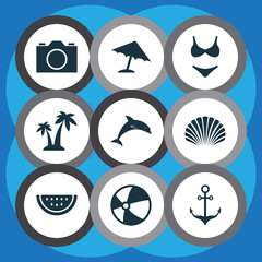 Sun Icons Set. Collection Of Armature, Bikini, Balloon And Other Elements. Also Includes Symbols Such As Cocos, Ball, Trees.