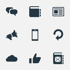 Vector Illustration Set Of Simple Network Icons. Elements Web Cloud, Megaphone, Refresh And Other Synonyms Cloud, Mobile And Conversation.