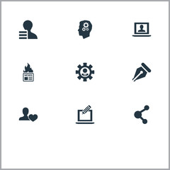 Vector Illustration Set Of Simple User Icons. Elements Copyrighting, Gazette, Ink Pen And Other Synonyms Person, Share And Mind.