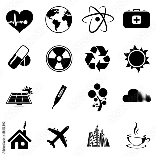 Vector Set Web Icons Ecology And Health Science World