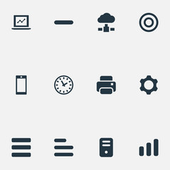 Vector Illustration Set Of Simple Apps Icons. Elements Statistics, Minus, Watch And Other Synonyms Task, Chart And Laptop.