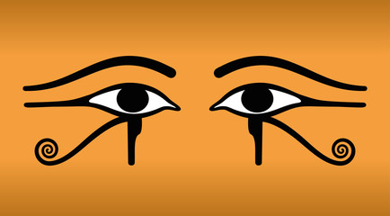The eyes of Horus on sand-colored Background. Wedjat, the ancient Egyptian symbol of protection, royal power and good health of the goddess Wadjet. Similar to Eyes of the god Ra. Illustration. Vector.