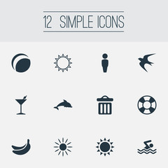 Vector Illustration Set Of Simple Seaside Icons. Elements Sunrise, Garbage, Cocktail And Other Synonyms Lifebuoy, Holiday And Safety.