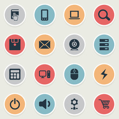 Vector Illustration Set Of Simple Computer Icons. Elements Select, Battery, Data Center And Other Synonyms Broadcast, Desktop And Bolt.