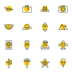 Vector Illustration Of 16 Summer Icons. Editable Pack Of Sweets, Umbrella, Melon And Other Elements.