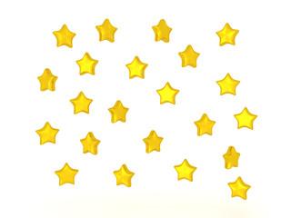 3D illustration of many shiny stars