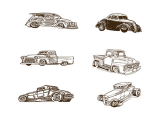 classic car cartoon clipart collection. Collection set