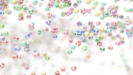 3d illustration of lottery ball swarm.