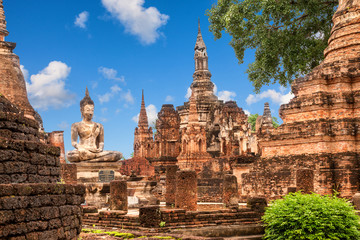 Wat Mahathat (temple). Sukhothai Historical Park, Thailand. Unesco World Heritage Site.