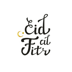Vector isolated handwritten lettering for Eid Al-Fitr and golden moon on white background. Vector calligraphy for greeting card, decoration and covering.