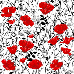 Red poppies seamless pattern