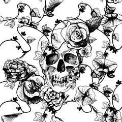 Skull in flowers
