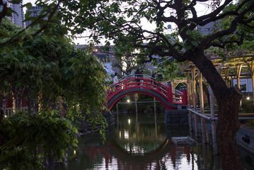 Bridge and garden in Kameido Tenjin shrine, in Tokyo, Japan