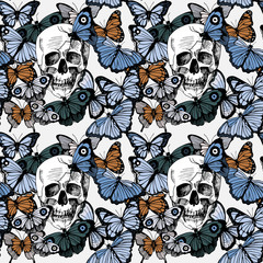 Seamless butterflies and skulls pattern