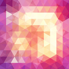 Background of pink, yellow, orange geometric shapes. Abstract triangle geometrical background. Mosaic pattern. Vector EPS 10. Vector illustration