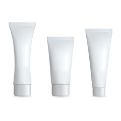 White Realistic Tube For Cream. Cosmetic Template Set. Isolated Vector illustration.