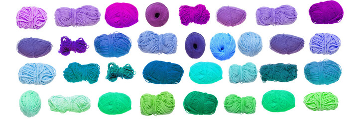 Colored balls of yarn. View from above. Rainbow colors. Yarn for knitting. White background. Isolated.
