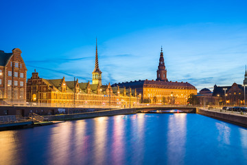 Christiansborg Palace at night in Copenhagen city, Denmark