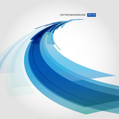 Abstract vector background element in blue and white colors perspective